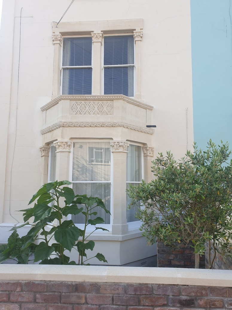A refurbished bay window